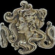 Art Nouveau revival Silver Plate Cuff Bracelet