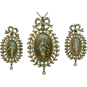 Late Georgian early Victorian 18K & Sterling Silver Hand Painted Pendant & Earring Suite - SET