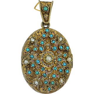 Jeweled on Both Sides Austro-Hungarian Garnet Persian Turquoise Pearls Gold Gilt Silver Locket