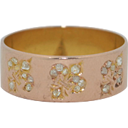 Victorian 18K Pink Gold Band with Fleur-de-lys & Old Rose Cut Diamonds