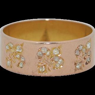 Victorian 18K Pink Gold Band with Fleur-de-lys & Old Rose Cut Diamonds