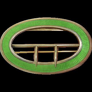 Fabulous Art Deco Sterling Silver Bright Green Enamel Brooch & Belt Buckle