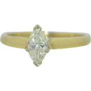 1/3 CTW Marquise Cut Diamond Ring 14K Yellow Gold