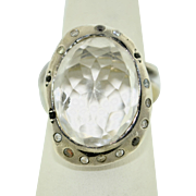 Modernist Sterling Silver Clear Quartz Mazzive Ring
