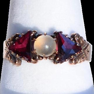 Edwardian 10K Rose Gold Moonstone and Garnet Ring