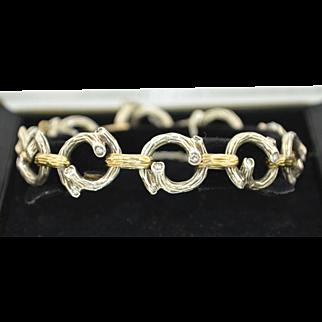 Signed SUCCO Diamonds 14K Sterling Silver Branch Bracelet