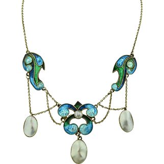 Arts & Crafts Sterling Silver & Enamel Blister Pearl Necklace