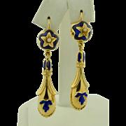 14K Victorian Royal Blue Enamel Earrings