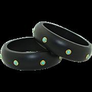 Super Fun Turquoise Wood & Sterling Silver Bangle Bracelets (2)