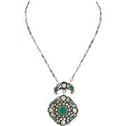 Austro Hungarian Chrysoprase Pearls & Sterling Silver on an Original Chain Necklace