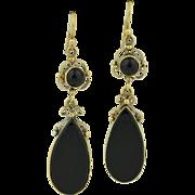 Victorian 14K Black Onyx Dangle Earrings