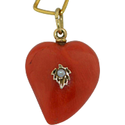 Victorian Natural Untreated Red Coral Witches Heart 14K