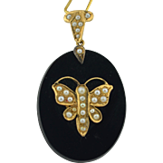 Victorian 14K Butterfly Seed Pearl & Onyx Pendant