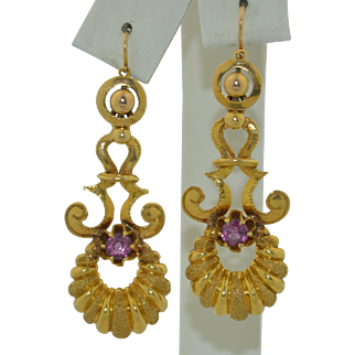 Victorian French 18K & Pink Tourmaline Day & Night Earrings