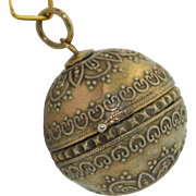 Victorian Sterling Silver Etruscan Orb Round Double Locket