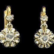 Antique French 18K Rose Cut Diamond Dangle Earrings