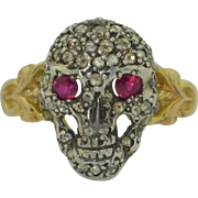 14K Ruby & Rose Cut Diamond Skull Ring