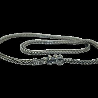 Vintage Sterling Silver Dragon Necklace