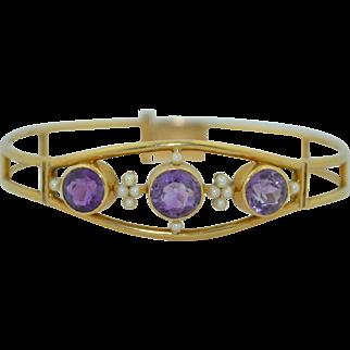 Victorian14K Amethyst & Seed Pearl Bracelet