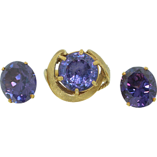 Retro 14K Flashy Synthetic Alexandrite Ring and Earrings Suite Set