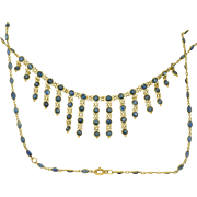 18K Blue Sapphire Draping Necklace
