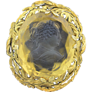 Large 90CWT Hand Carved Citrine Cameo In 14K