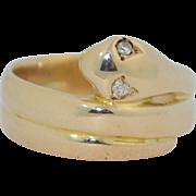 Victorian 14K Diamond Eye Snake Coil Ring