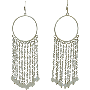 Contemporary Sterling Silver & Moonstone Very Long Draping Earrings