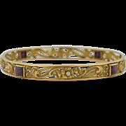 Art Nouveau 14K Diamond & Garnet Bracelet  - Bangle Signed by Whiteside & Blank