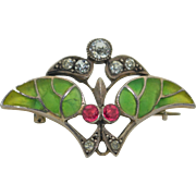 Art Nouveau  Plique-a-Jour Brooch signed Rd & Numbered