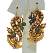 Victorian 12K Tri Colored Gold & Pearl Earrings Rose Yellow & Green Gold