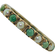 Victorian Persian Turquoise & Pearl 9K Eternity Band Ring