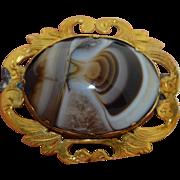 Victorian 10K Banded Scottish Agate Brooch