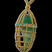 19K Gold Persian Turquoise & Chrysoprase Fish Basket Pendant