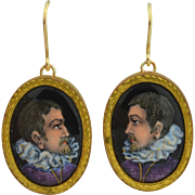 Victorian French Limoges Enamel Renaissance Man 14K & Gold Fill