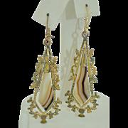 Scottish Banded Agate Gold Filled Long Earrings
