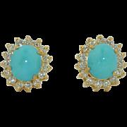 18K Persian Turquoise 8ct & Diamond 2ct Earrings