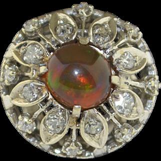 14K White Gold Fire Opal & Diamond  Halo Flower Ring