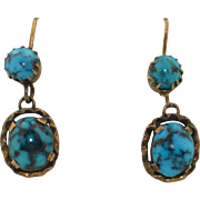 10K Antique Persian Spider Turquoise Dangle Earrings