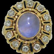 14K Lavender Sapphire & Diamond Halo Ring