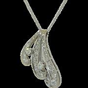 3CTW Old Mine Cut Diamond 14K Necklace Art Deco