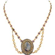 A French Georgian 18K Rose & Yellow Gold Necklace with Picture Agate & Enamel