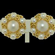 Very Large 14K Retro Pearl Earrings
