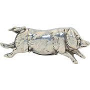 Antique Pig Vesta Match Safe Silverplate