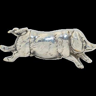 Antique Pig Vesta Match Safe Silverplate