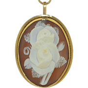 14K Hand Carved Shell Rose Cameo Pendant - Pin