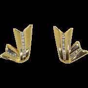 Retro 14K Ribbon Diamond Earrings - Posts