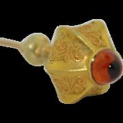 Victorian 10K Jeweled Citrine Hat Pin