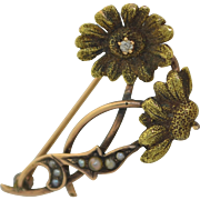 Art Nouveau 10K Diamond and Pearl Daisy Flower Pin Brooch