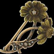 Art Nouveau 10K Diamond and Pearl Daisy Flower Pin Brooch
